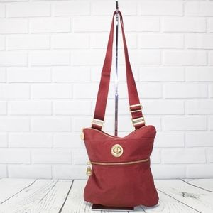 Baggillini Red Gold Hardware Crossbody Purse Bag